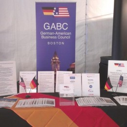 GABC's booth is a popular gathering spot in the Innovation Lounge
